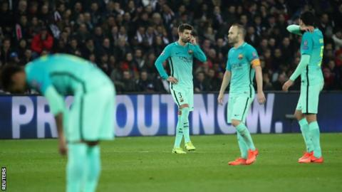 Dejected Barcelona players