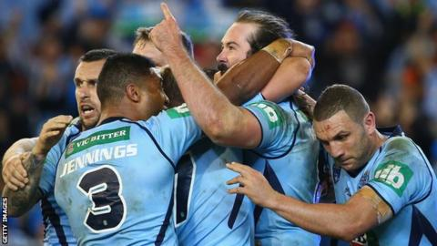 Aaron Woods celebrates his try, New South Wales' third