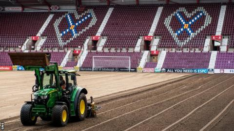 The Tynecastle surface being dug up