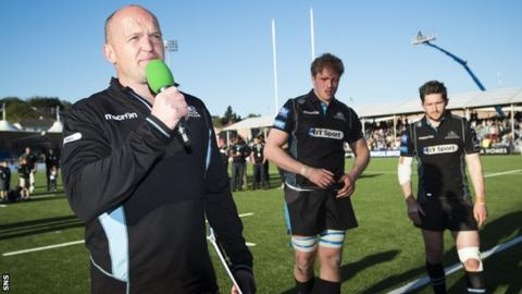 Gregor Townsend addresses the Scotstoun crowd