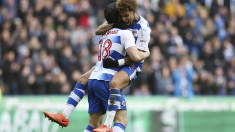 Danny Williams celebrates with Yann Kermorgant