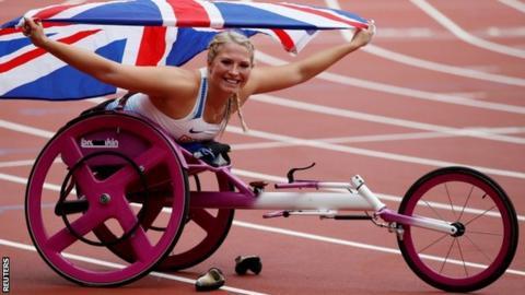 Sammi Kinghorn celebrates winning the 100m at the World Para athletics Championships