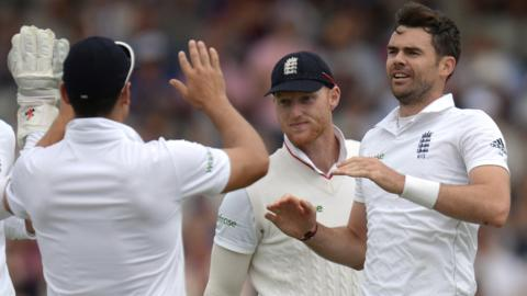 Jimmy Anderson coaxes an edge from Shan Masood straight into the grateful palms of Joe Root at second slip