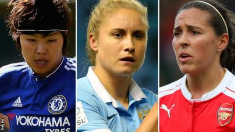 Ji So-Yun (left), Steph Houghton and Fara Williams (right)