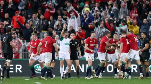 The Lions celebrate beating the All Blacks