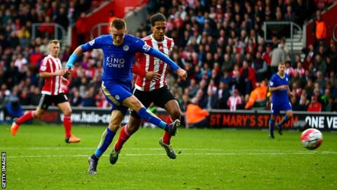 Jamie Vardy scored twice for Leicester in their 2-2 draw with Southampton in October.