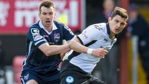 Ross County's Paul Quinn (left) with Graham Cummings
