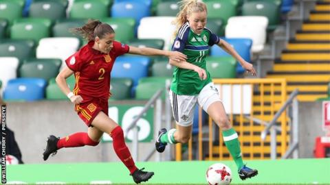 Northern Ireland's Leyla McFarland and Spain's Ona Battle Pascual battle for possession.