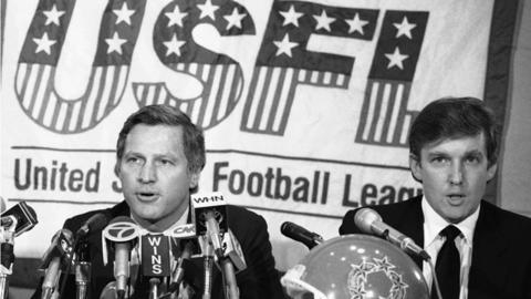 Donald Trump at a press conference for the New Jersey Generals of the USFL