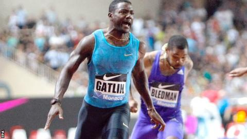 Justin Gatlin has twice run a world leading 9.74 seconds in the 100m this year
