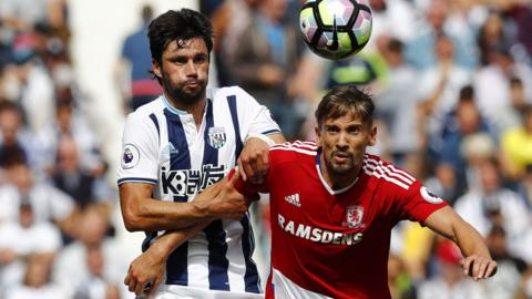 West Brom's Claudio Yacob in action with Middlesbrough's Gaston Ramirez