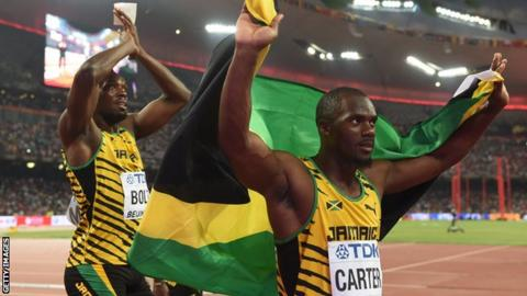 Usain Bolt & Nesta Carter after their 2008 4x100m relay gold