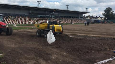 The Rodney Parade pitch is being relaid