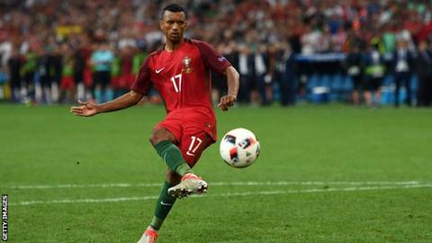 Nani playing for Portugal