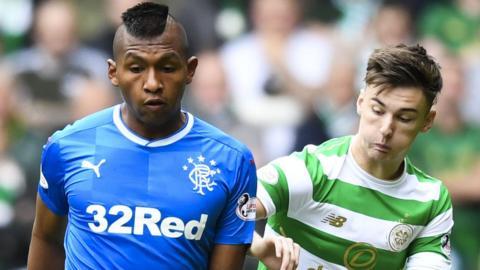 Rangers' Alfredo Moleros and Celtic's Kieran Tierney