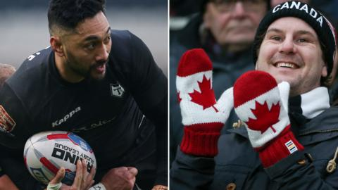 Quentin Togaga'e and a Toronto Wolfpack fan