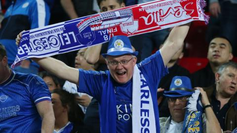Leicester fans in Seville