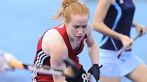 Wales hockey player Sarah Jones in action against Kazakhstan