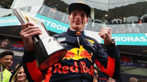 Max Verstappen celebrates his win in Malyasia