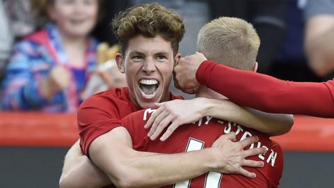 Ryan Christie celebrates for Aberdeen
