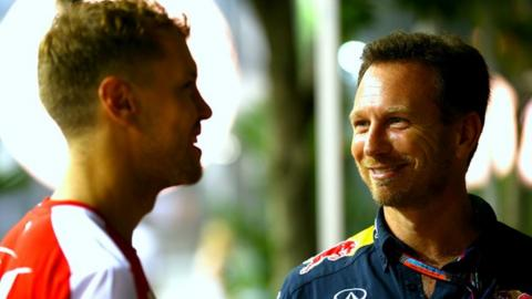Ferrari's Sebastian Vettel and Red Bull boss Christian Horner
