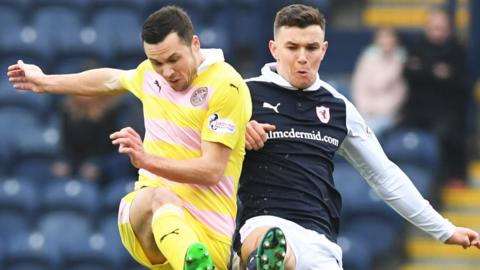 Raith's Ross Matthews (right) and Hearts' Don Cowie