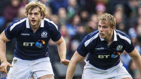 Richie Gray and Jonny Gray line up in defence for Scotland against Ireland
