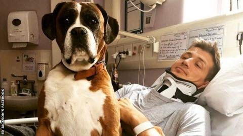 Ed Jackson in hospital with his dog Molly