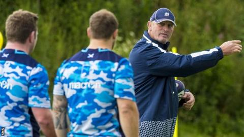 Scotland head coach Vern Cotter takes training this week