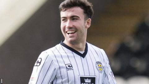 Stevie Mallan (right) shares a joke in action for St Mirren