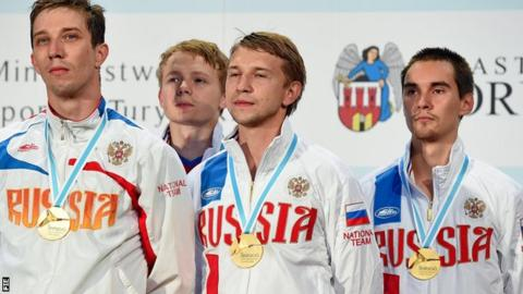 The Russian men's team of Dmitriy Danilenko, Kamil Ibragimov, Nikolay Kovalev, Alexey Yakimenko took gold in the men's sabre at the European Fencing Championships in Poland last month