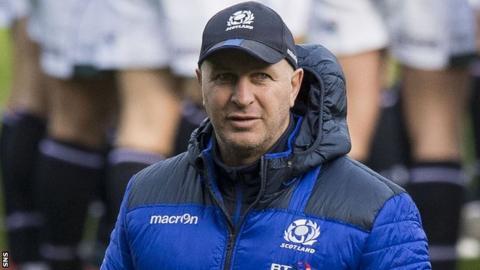 Jason O'Halloran oversees a Scotland pre-match warm-up last month