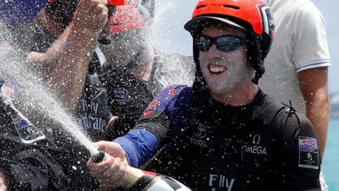 Peter Burling celebrates America's Cup win