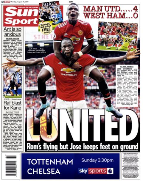 The Sun lead with Romelu Lukaku's influence in Manchester United's 4-0 victory over West Ham