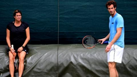 Coach Amelie Mauresmo and Andy Murray