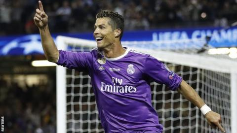 Cristiano Ronaldo scored two goals as Real Madrid beat Juventus in last month's Champions League final