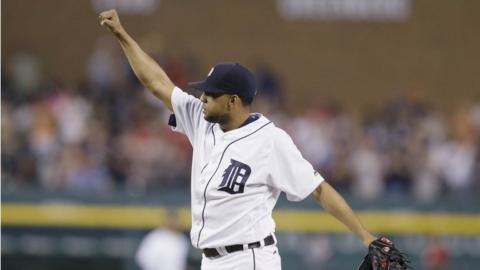 Detroit Tigers relief pitcher Francisco Rodriguez raises his fist after the final out of a baseball game against the Philadelphia Phillies, Tuesday, May 24, 2016, in Detroit.