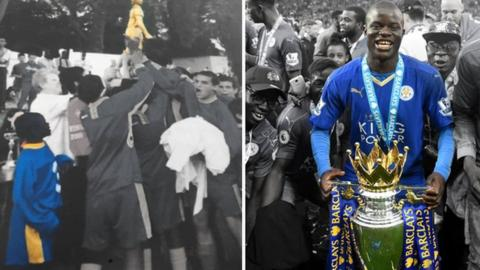 A young N'Golo Kante (left) and celebrating winning the title with Leicester