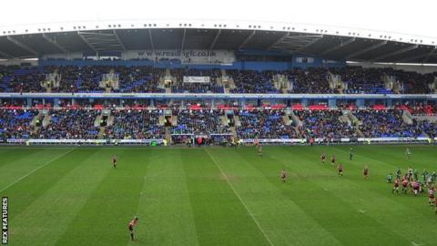 London Irish playing at Madejski Stadium