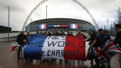 A message of thanks from France fans outside Wembley
