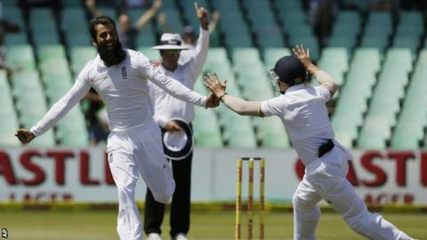 Moeen Ali celebrates the wicket of AB De Villiers