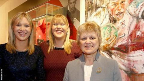 Nevin Spence's sisters Emma and Laura and mother Essie at the opening ceremony