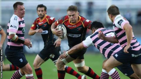 Dragons' Lewis Evans in action against Cardiff Blues