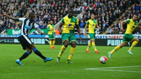 Georginio Wijnaldum scored four of Newcastle's goals as they beat Norwich 6-2 earlier this season.