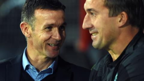 Ross County manager Jim McIntyre and Hibs head coach Alan Stubbs