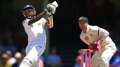 Sri Lanka's Nuwan Pradeep and Australia's Matthew Wade