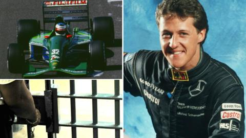 Michael Schumacher in his early racing career and an image of a prison cell