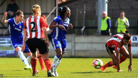 Ramona Bachmann (left) scores for Chelsea Ladies against Sunderland Ladies