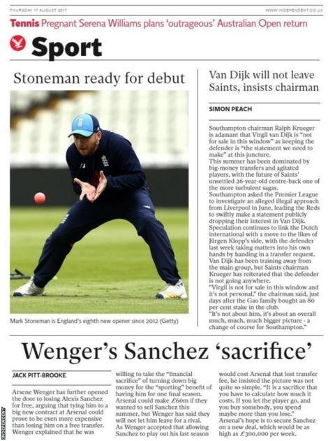 Thursday's Independent Sport