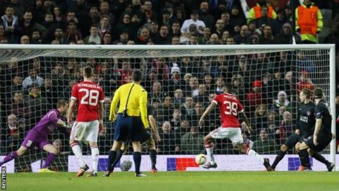 Marcus Rashford, 18, scores on his Manchester United debut in front of the Stretford End